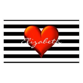 Monograma metálico rojo del corazón de la raya tarjetas de visita