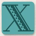 Monograma mexicano X de la letra del estilo del ar Posavasos
