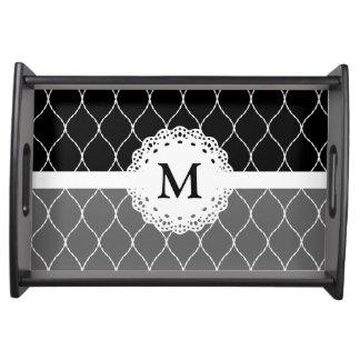 Monograma - modelo blanco negro elegante del cordó bandeja