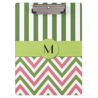 Monograma - modelo de zigzag, Chevron - rosa verde