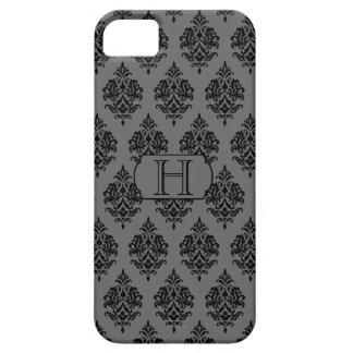 Monograma modelo negro del damasco caja gris iPh iPhone 5 Cárcasa