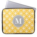 Monograma moderno amarillo del gris de los círculo mangas computadora