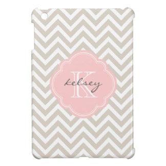 Monograma moderno beige y rosado de lino del perso iPad mini coberturas