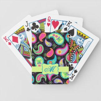 Monograma moderno colorido negro del modelo de Pai Baraja Cartas De Poker