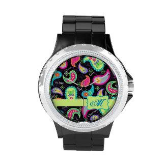Monograma moderno colorido negro del modelo de Pai Reloj