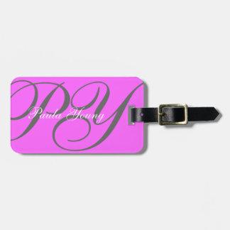 Monograma moderno de encargo 2 (rosa) etiqueta para equipaje
