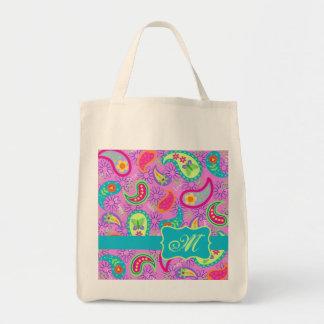 Monograma moderno de Paisley de la turquesa rosada Bolsa Tela Para La Compra