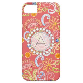 Monograma moderno del remolino de la hoja floral d iPhone 5 Case-Mate cárcasa