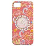 Monograma moderno del remolino de la hoja floral iPhone 5 Case-Mate carcasa