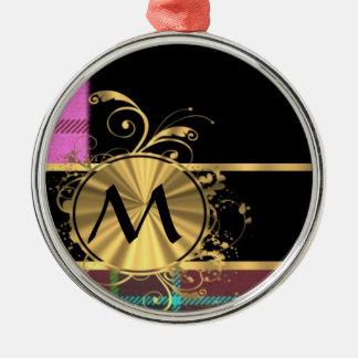 Monograma moderno del tartán del rosa y del oro adorno redondo plateado