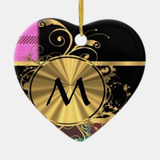 Monograma moderno del tartán del rosa y del oro adorno de cerámica en forma de corazón