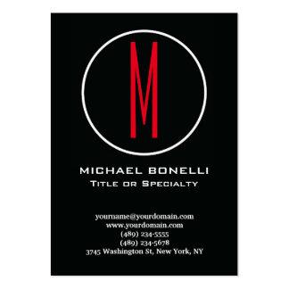 Monograma moderno elegante de moda del rojo del tarjetas de visita grandes