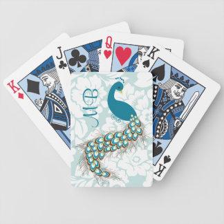 Monograma moderno elegante del pavo real del damas barajas de cartas