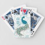 Monograma moderno elegante del pavo real del damas baraja de cartas