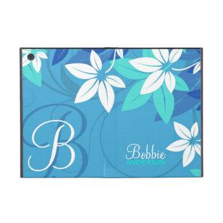 Monograma moderno floral azul iPad mini carcasas