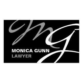 Monograma moderno gris negro tarjetas de visita