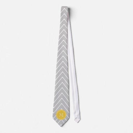 Monograma moderno gris y amarillo del personalizad corbata personalizada
