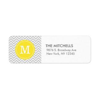 Monograma moderno gris y amarillo del personalizad etiqueta de remite