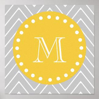 Monograma moderno gris y amarillo del personalizad posters