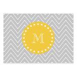 Monograma moderno gris y amarillo del personalizad plantillas de tarjetas personales