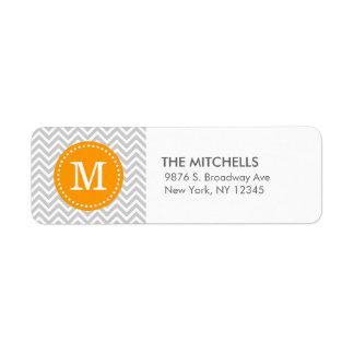 Monograma moderno gris y anaranjado del etiquetas de remite