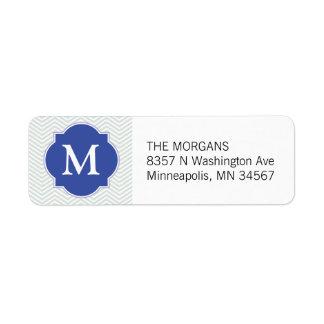 Monograma moderno gris y azul del personalizado de etiqueta de remite