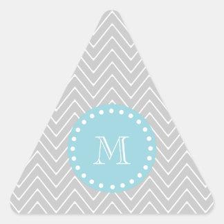 Monograma moderno gris y azul del personalizado de calcomania de trianguladas