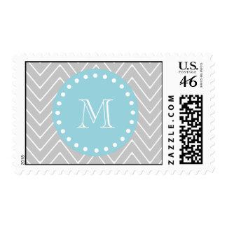 Monograma moderno gris y azul del personalizado de