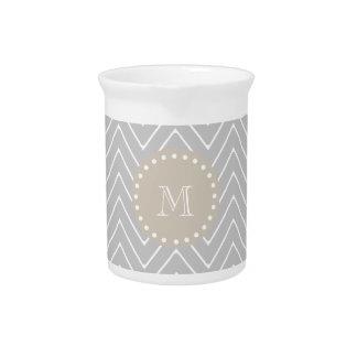 Monograma moderno gris y beige del personalizado d jarrones