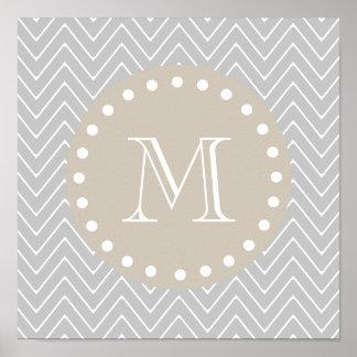 Monograma moderno gris y beige del personalizado d póster