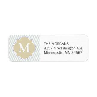 Monograma moderno gris y beige del personalizado etiqueta de remite