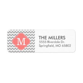 Monograma moderno gris y coralino del etiquetas de remite
