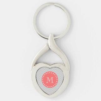 Monograma moderno gris y coralino del llavero plateado en forma de corazón