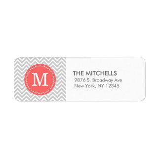 Monograma moderno gris y coralino del personalizad