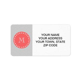 Monograma moderno gris y coralino del personalizad etiquetas de dirección