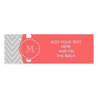 Monograma moderno gris y coralino del personalizad tarjeta personal