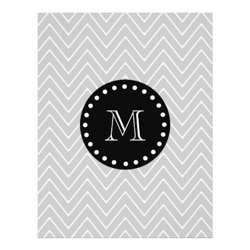 Monograma moderno gris y negro del personalizado d flyer personalizado