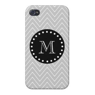 Monograma moderno gris y negro del personalizado d iPhone 4 cárcasa