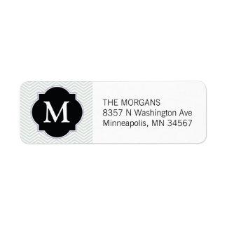 Monograma moderno gris y negro del personalizado etiqueta de remite
