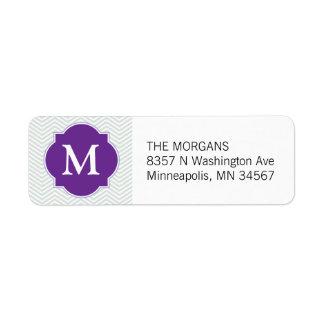 Monograma moderno gris y púrpura del personalizado etiqueta de remitente
