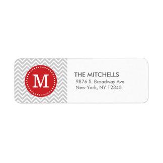 Monograma moderno gris y rojo del personalizado de etiquetas de remite