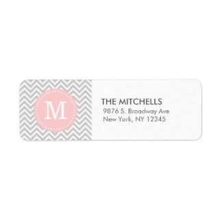Monograma moderno gris y rosado del personalizado etiquetas de remite