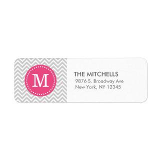 Monograma moderno gris y rosado del personalizado etiqueta de remitente