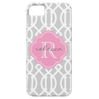 Monograma moderno gris y rosado del personalizado  iPhone 5 cárcasa