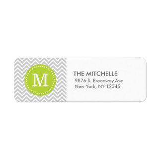 Monograma moderno gris y verde del personalizado d etiquetas de remite