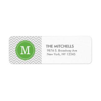 Monograma moderno gris y verde del personalizado etiqueta de remite