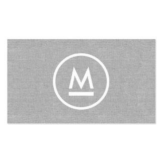 Monograma moderno inicial grande en el lino gris tarjetas de visita
