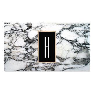 Monograma moderno, mármol blanco y negro, piedra tarjetas de visita