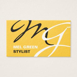 Monograma moderno negro amarillo tarjetas de visita