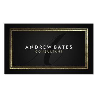 Monograma moderno profesional del negro elegante tarjetas de visita
